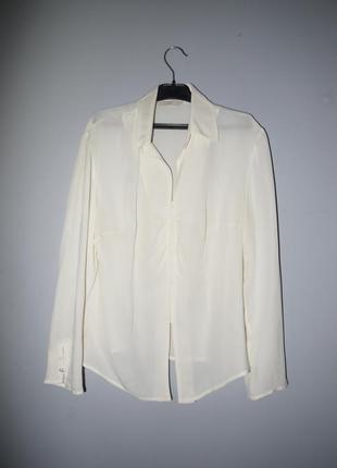 100% silk рубашка -блуза кремовая ( молочный белый ) интересны...