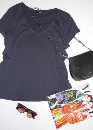 H&m футболка темно синяя с кармашком свободная хлопок