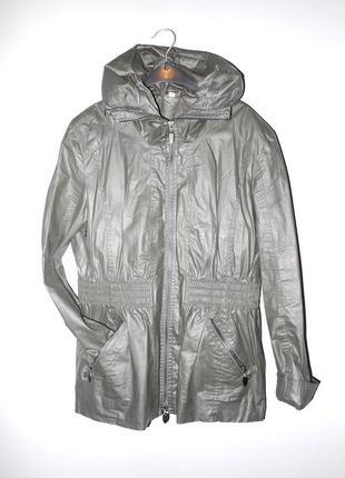 Куртка ветровка из вощеной ткани под кожу . темно зелёная