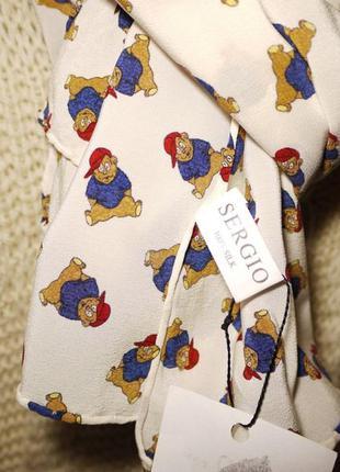 Sergio платок из 100% шелка с медведями ) мишки