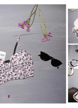 Бюстгальтер корсет в цветочек чёрный кремовый розовый