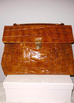 Клатч сумка портфель из нат. кожи под крокодила рыжая коричневая