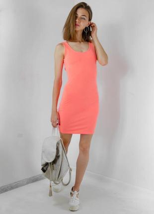 Gina tricot неоновое мини, короткое платье с переплетами на сп...
