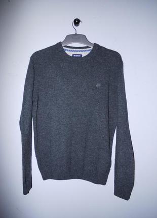 Шерсть 100% . темно серый классический свитер mcneal