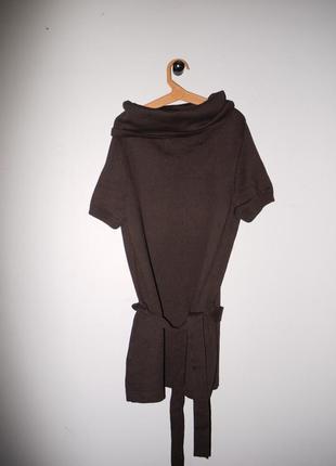 Удлиненный коричневый свитер - туника на поясе гольф