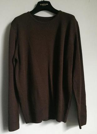 Темно коричневый джемпер ( свитер ) тонкая 100% шерсть