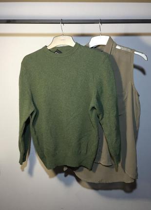 Италия 🇮🇹 зелёный свитер , шерсть , джемпер . свитшот