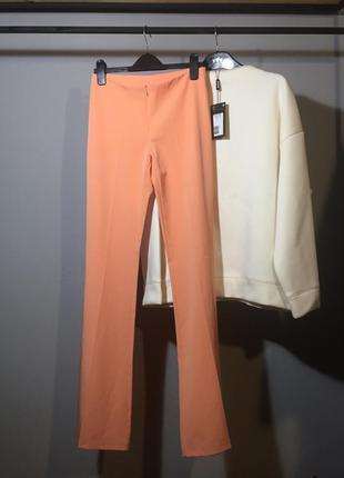 Люкс брюки 😍 цвет фламинго , тонкие с высокой посадкой клёш