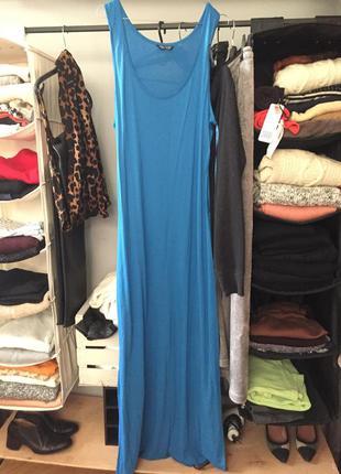 Макси платье синее голубое , трикотажное длинное в пол