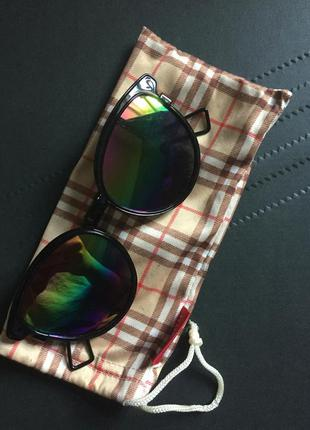 Чёрные очки рэйбен стекло радуга с чехлом
