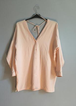 Персиковая рубашка - туника на завязках . платье zara
