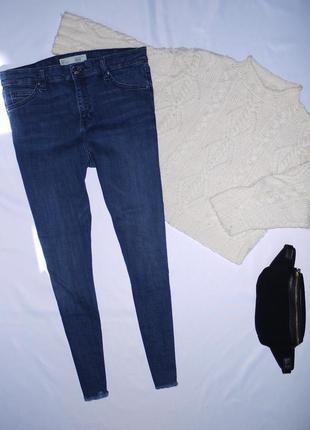 Темно синие плотные джинсы скинни ( skinny ) c высокой посадко...