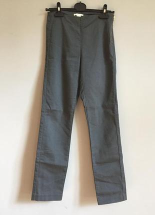 Серые джинсы дудочки ( брюки ) высокая посадка с молнией h&m