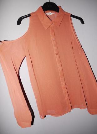 Шифоновая блуза с открытыми плечами .