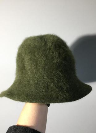 Панама зелёная из шерсти ( ангора) очень мягкая и тёплая шапка...