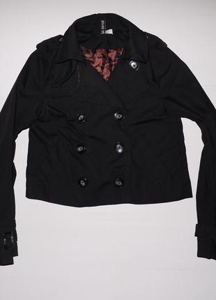 Короткий тренч h&m .новый чёрный базовый плащ куртка