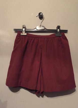 Терракотовые шорты h&m из смесовой шерсти . тёплые бордовые