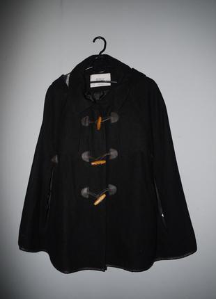 Пальто кэйп из шерсть . дафлкот с капюшоном . черный . новый (...