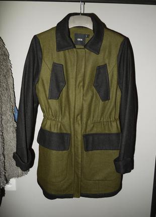 Новое пальто парка asos . шерсть чёрное хаки оливковое