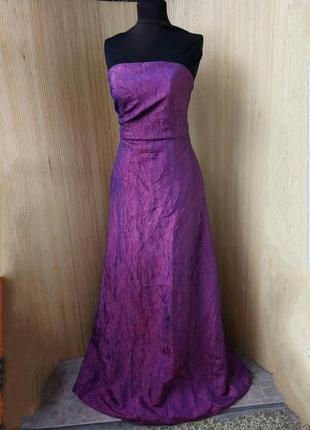 Длинное вечернее платье бюстье фактурный атлас в пол Paris