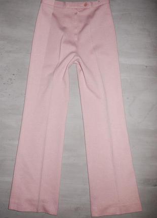 Теплые брюки пудрового розового цвета на талию .франция . шерсть