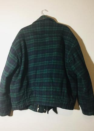 Куртка из шерсти клетка зелёный +темно синий . винтаж spengler