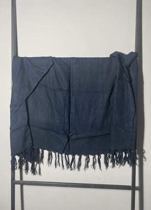 Темно синий платок ( шарф) палантин из хлопка. большой
