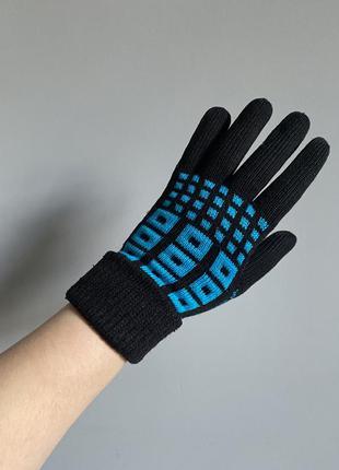 Перчатки длинные чёрные с бирюзовым орнаментом
