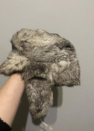 Шапка ушанка серая из натурального меха кролик