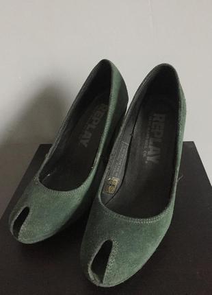 Replay замшевые туфли 👠 оригинал зеленые