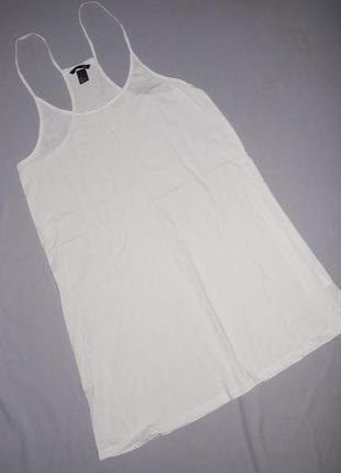 H&m белоснежное свободного кроя платье  - сарафан на бретельках