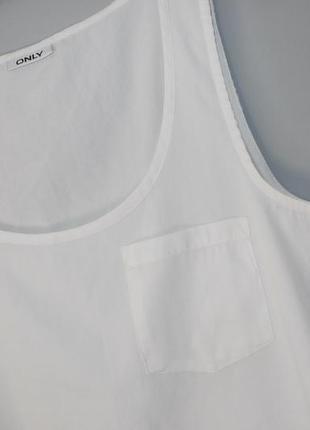 Белая блуза с кармашком ( майка ) не трикотаж