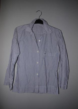 Aigner брендовая рубашка в полоску белый с синим