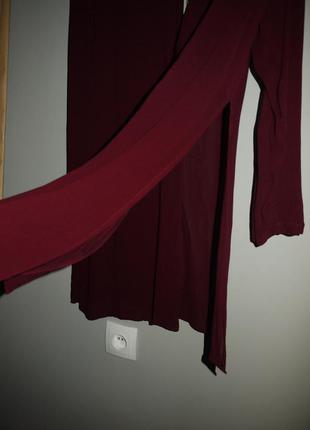 Рубашка платье с разрезами . марсала , бордовая , винного цвета