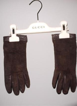 Коричневые перчатки из замши и кожи azarini