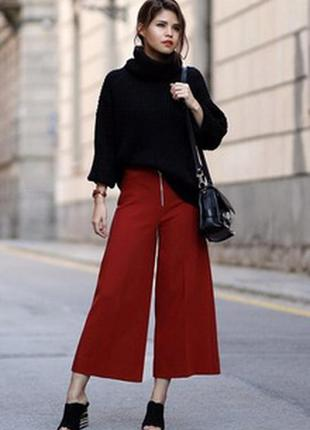 Терракотовые (рыжие , кирпичные ) брюки палаццо завышенная пос...