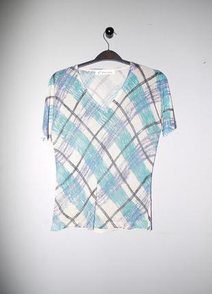 Блуза с люрексом бежево голубая клетка . винтаж