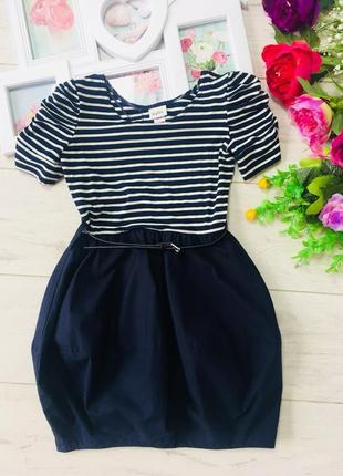 Стильное платье в морском стиле.11-12 лет