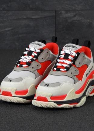 Шикарные женские кроссовки triple grey red, осенние - весенние