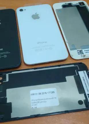 Задняя крышка для iPhone 4, iPhone 4S черная и белая (СТЕКЛО)