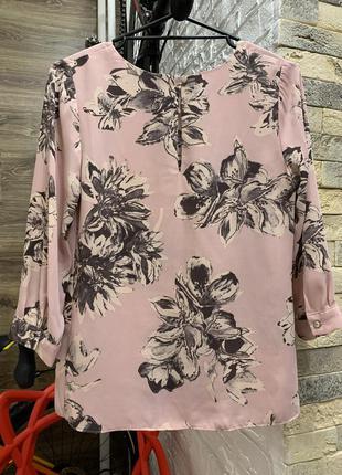 Блуза нежная красивая шифон рукав 3/4 в цветочный принт