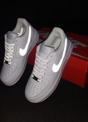 Nike air force white reflective, женские рефлективные кроссовк...