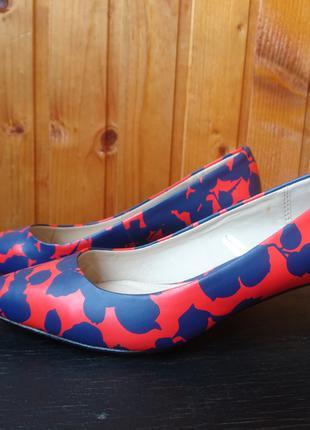 Туфли, маленький каблук оранжево-синие (сине-фиолетовый) эко кожа