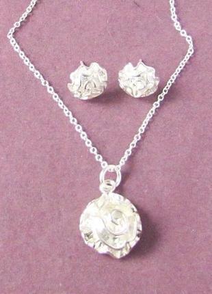 🏵️набор бижутерии в серебре 925 серьги и кулон на цепи розы, н...