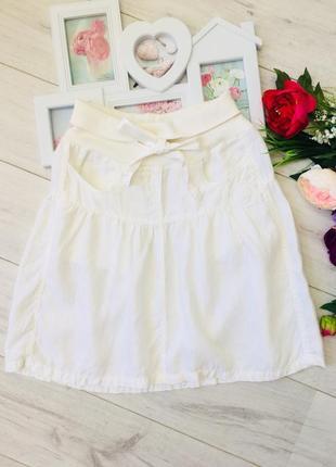 Белая юбка натуральный лен
