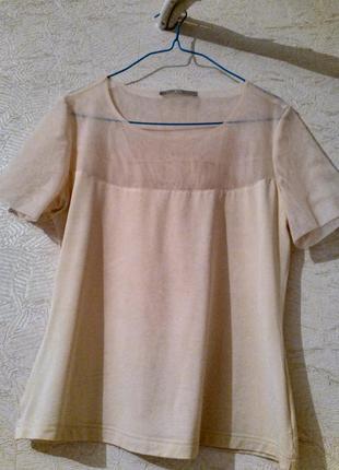 Базовая нюдовая блуза беж сетка классика размер s