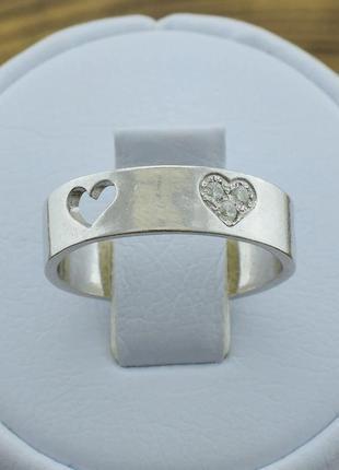 Кольцо серебряное сердце