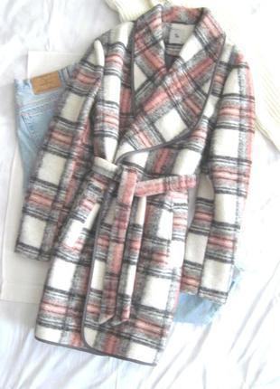 Клетчатое пальто на запах шерсть tu можно беременным