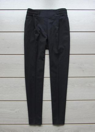 Зауженные синие брюки в полоску на резинке со стрелками высока...