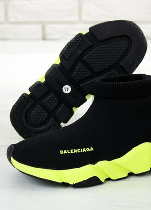 Женские кроссовки balenciaga speed green black, стильные лёгкие